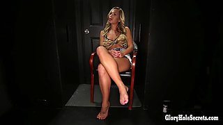 busty blonde hottie eats cocks and cum from strangers in random gloryhole