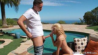 Fake tittied bombshell Kayla Kayden gives blowjob to horny guy Keiran Lee
