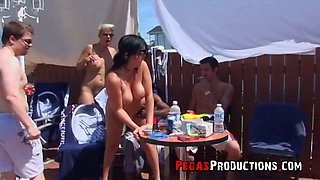 Lustful Canadian chick Alyson Queen takes part in crazy group sex by the poolside