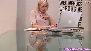 euro office babe solo rubbing pussy at work
