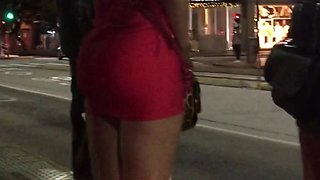 latin girl - voyeur in bus stop