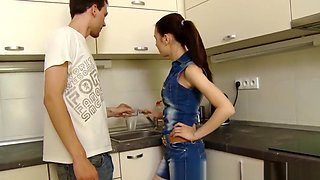 Wonderful teen plowed and licked in the kitchen