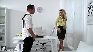 Young secretary Mary Kalisy gets intimate with one co-worker