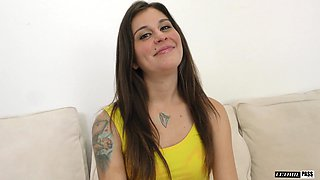 Lovely brunette Kacie Castle attacked by a fellow with a big black rod