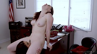 Chanel Preston and Avi Love enjoy a lesbian game in an office