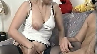 Filthy white brunette bitch having steamy sex on the couch