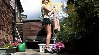 British babe outside upskirt