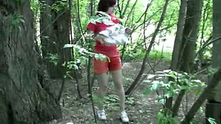 Russian amateur girl arouses when she pees in public