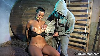 Lingerie sub shaking after bondage orgasm
