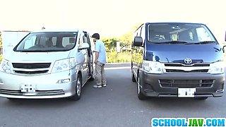 Teen Schoolgirl Has A Crazy Threesome Inside A Car