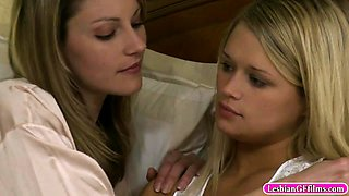 Hot MILF and beautiful teen clit 2 clit fucking in bed