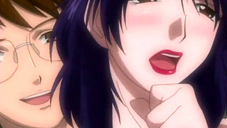 Anime babe giving multiple blowjobs in orgy
