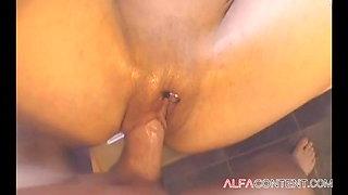Horny slut gets her asshole destroyed