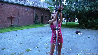 Slave outdoor crucified and flagellated