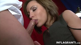 German MILF secretary sucks the boss dry