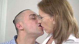 This slut enjoys preying on younger men and she needs this guy's tongue at work