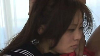 Japnese babe in school uniform in threesome Uncensored