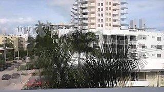 Gf blows in neon bikini on the terrace