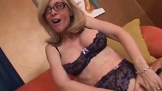 Horny blonde MILF in glasses licking pussy passionately before getting smashed doggy style