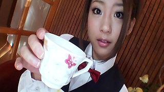 Innocent angel Satomi Suzuki makes a blowjob