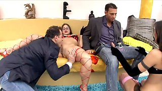 Cindy foursome in thigh high fishnet and heels