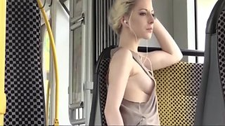 Amazing Blonde in Bus (downblouse and upskirt no pantie)