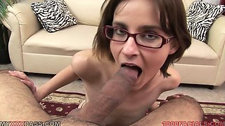 Girl in glasses fingers her twat and sucks a cock