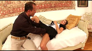 Alluring leggy maid Jay Dee gets her pussy fucked by horny boss
