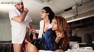 Threesome with two luscious sluts and a horny cook at a diner