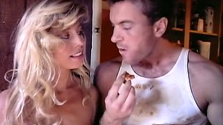 Sensual and really beautiful blondie feeds on a dick of her handsome lover
