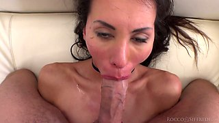 Slutty brunette in glasses Milena gives a POV blowjob and gets nailed
