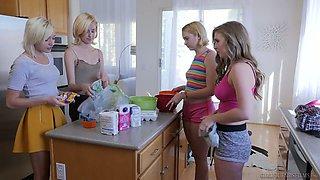 Bosomy milf Lena Paul can't stop eating tasty looking pussy of sweet cheerleader