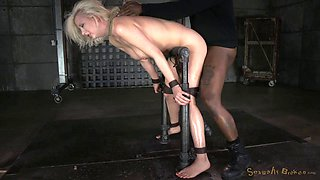 Blonde bent over for a black dick which feels great up her snatch