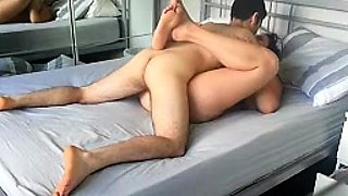 Curvy amateur wife gets banged missionary style on the bed