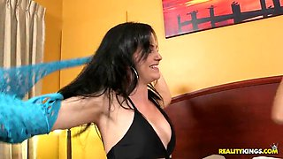 sassy latina cowgirls with tanned skin get fucked sill in a hot ffm threesome