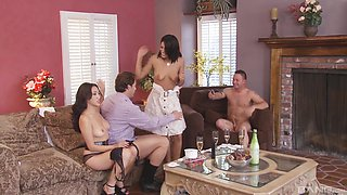Two brunette babes get their cunts pounded by kinky friends