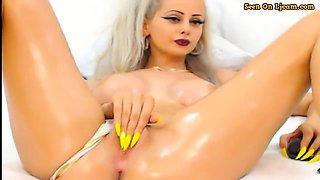 Oiled Blondy Masturbating With Huge Fingernails