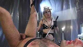blonde mistress dominating her male minion
