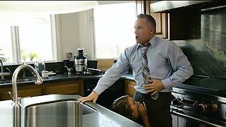 Stepdad Sneaks Cock Suck from Daughter