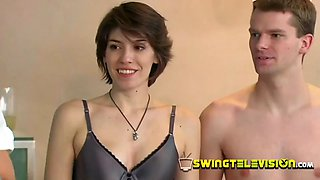 Fascinating sexy swinger babe is fucked and touched