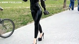 Exotic homemade Latex, High Heels adult clip