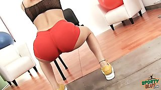 Round Ass TEEN Working Out in Tight Lycra Shorts Cameltoe