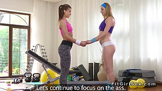 Fit blonde teen rubs cunt to her trainer