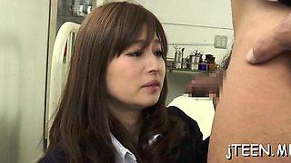 Japanese schoolgirl gets punished and sucks hard rod