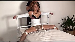 Tied to bed in pantyhose and vibed