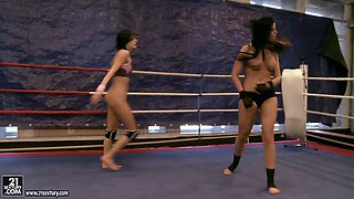 Two beautiful brunettes Larissa Dee and Liz Valery switch to lesbian sex during the martial arts lesson