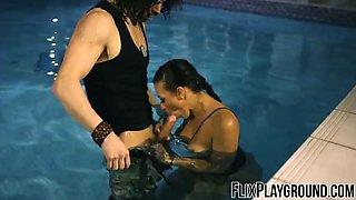 Rachel Starr fucking the dude in the pool like a superhero