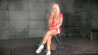 Blonde with bangs enjoys being drilled like a real sex slave