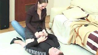 Beautiful woman seduces a boy