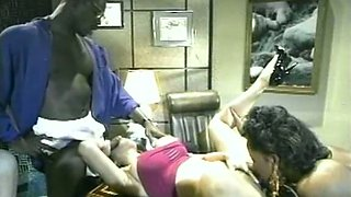 Sizzling hot classic black girls in the office start up FFM threesome